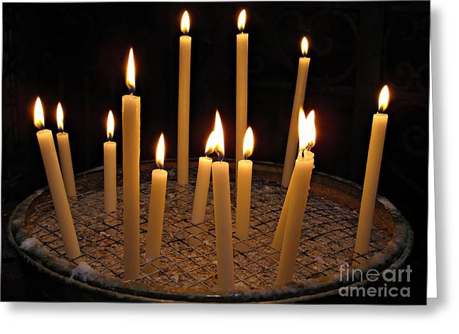 Candles In Basilica Di Santa Maria In Trastevere Greeting Card by Kiril Stanchev