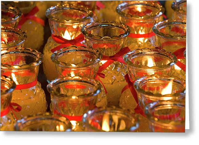 Candles In Chinese Temple, Kek Lok Si Greeting Card