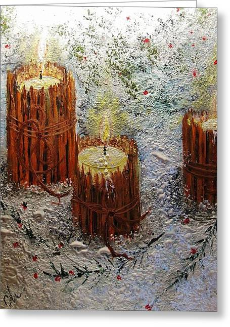 Greeting Card featuring the painting Candles In The Snow.. by Cristina Mihailescu