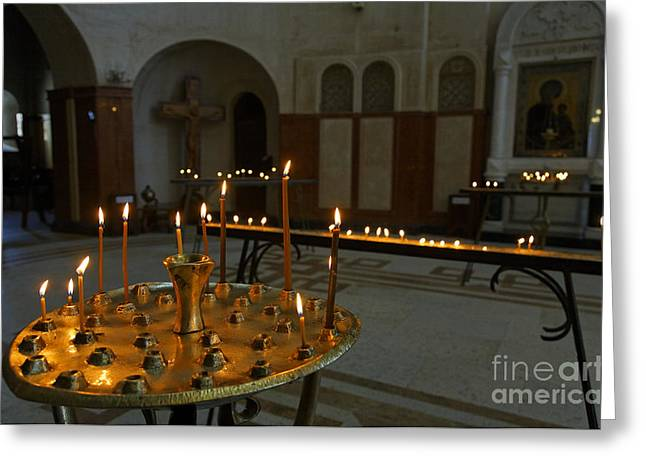 Candles Inside The Tsminda Sameba Cathedral Tbilisi Greeting Card