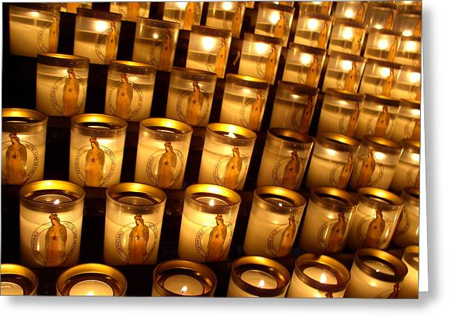 Greeting Card featuring the photograph Candles Of Cathedrale Notre Dame De Paris by Cleaster Cotton