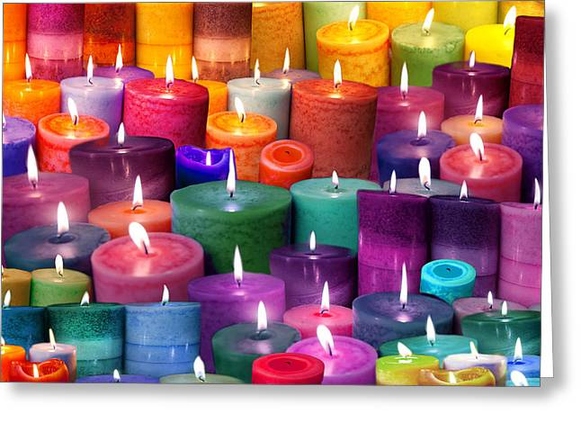 Candles Rainbow Colours Greeting Card
