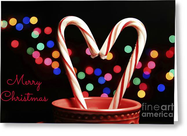 Candy Cane Heart Card Greeting Card