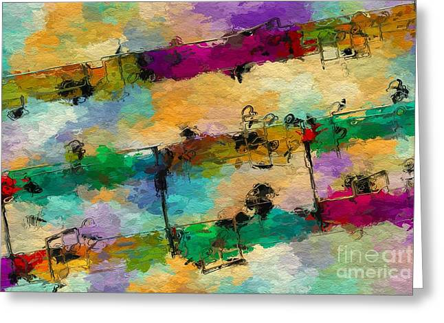 Greeting Card featuring the digital art Candy-coated Chords 1 by Lon Chaffin