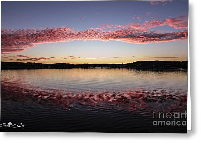 Candy Pink Reflections - Sunrise Greeting Card by Geoff Childs