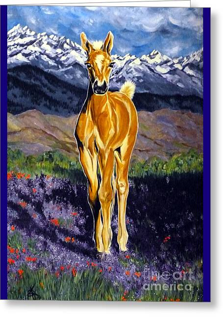 Candy Rocky Mountain Palomino Colt Greeting Card by Jackie Carpenter