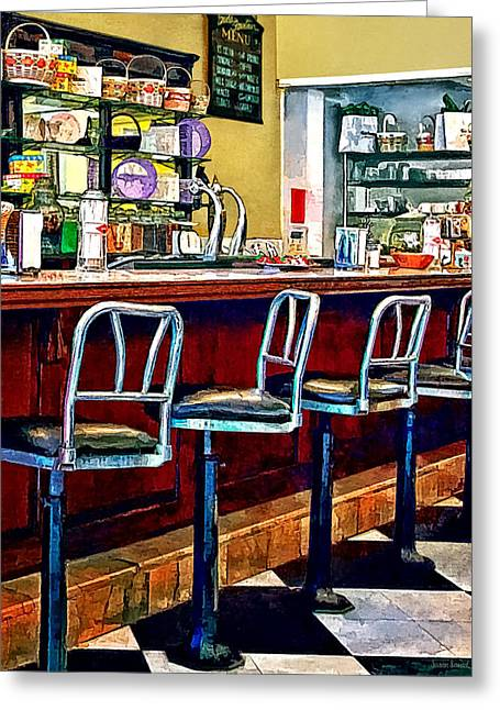 Candy Store With Soda Fountain Greeting Card by Susan Savad