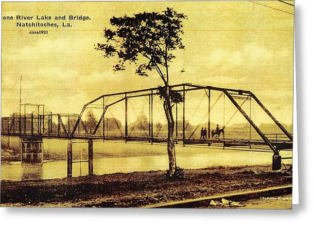 Cane River Lake And Bridge C1921 Greeting Card