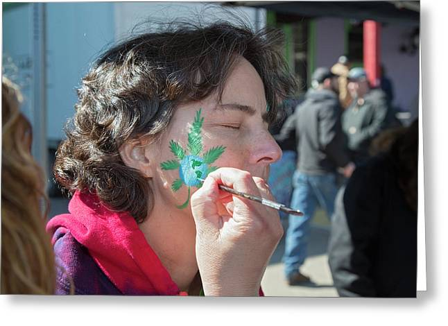 Cannabis Face Painting Greeting Card by Jim West