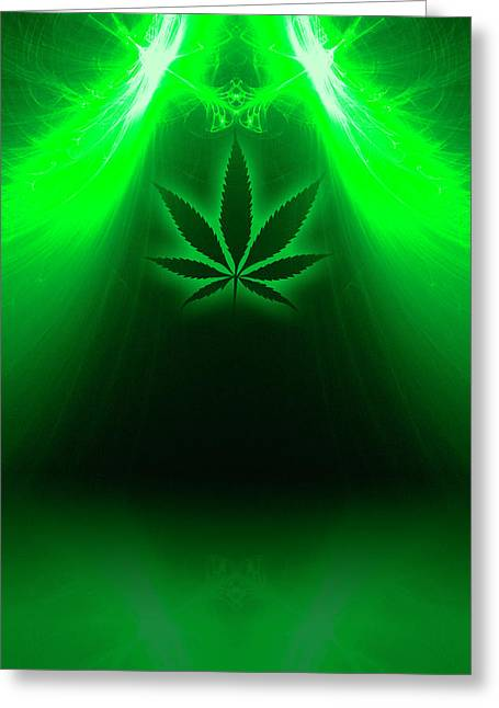 Cannabis Leaf Digital Illustration Greeting Card by Stock Pot Images