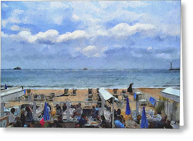 Cannes Beach At Breakfast Greeting Card