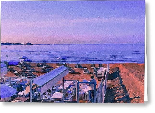 Cannes Beach Before Breakfast Greeting Card