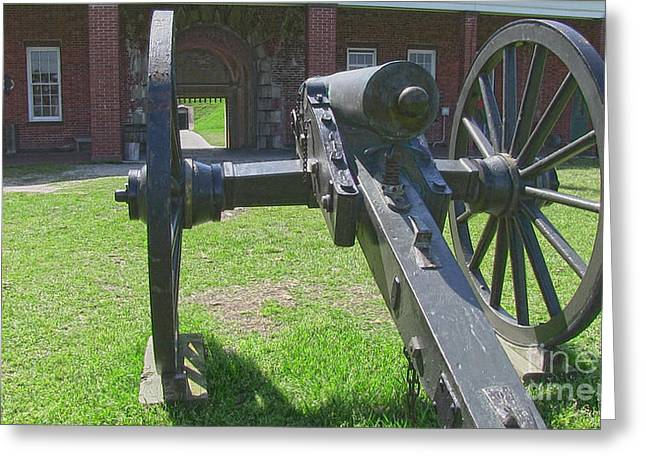 Cannon At Fort Pulaski Main Entrance Greeting Card by D Wallace
