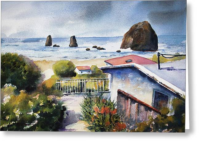 Greeting Card featuring the painting Cannon Beach Cottage by Marti Green