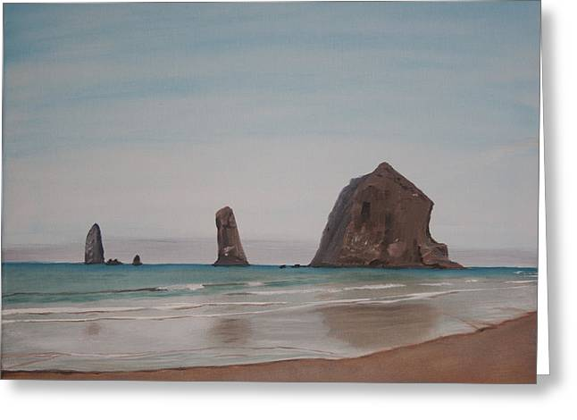 Cannon Beach Haystack Rock Greeting Card by Ian Donley