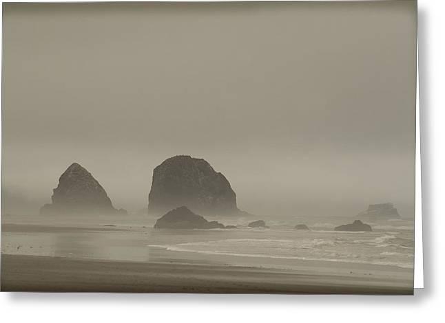 Cannon Beach In A Fog Oregon Greeting Card