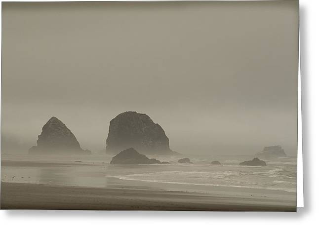Cannon Beach In A Fog Oregon Greeting Card