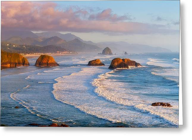 Cannon Beach Sunset Greeting Card by Darren  White