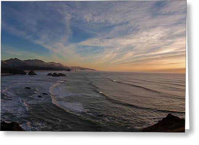 Cannon Beach Sunset Greeting Card by Mike Reid