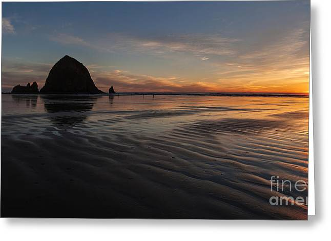 Cannon Beach Sunset Sand Waves Greeting Card