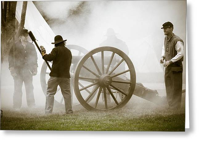 Cannon Fire At Plattsburg Greeting Card by Steven Bateson