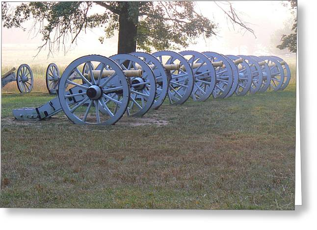 Cannon's In Fog Greeting Card by Michael Porchik