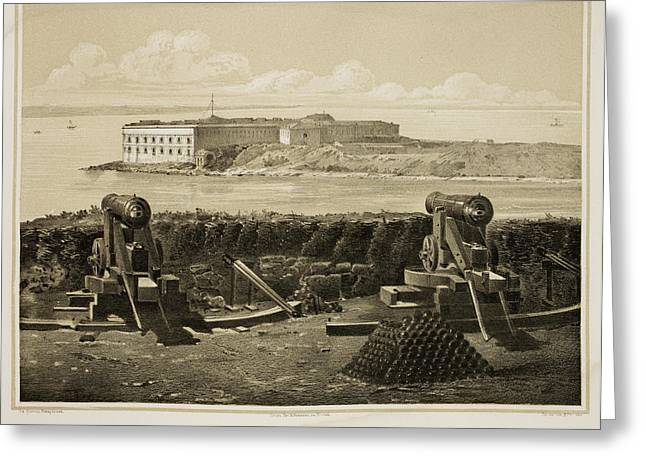 Cannons On Coastline Greeting Card by British Library