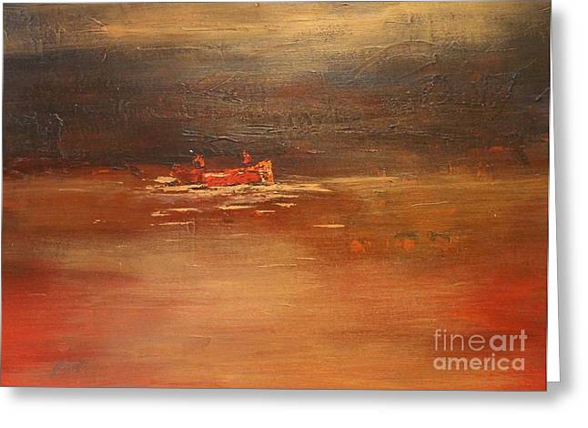 Canoe At Dusk Greeting Card