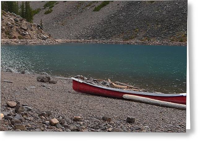 Canoe At Moraine Lake Greeting Card by Cheryl Miller