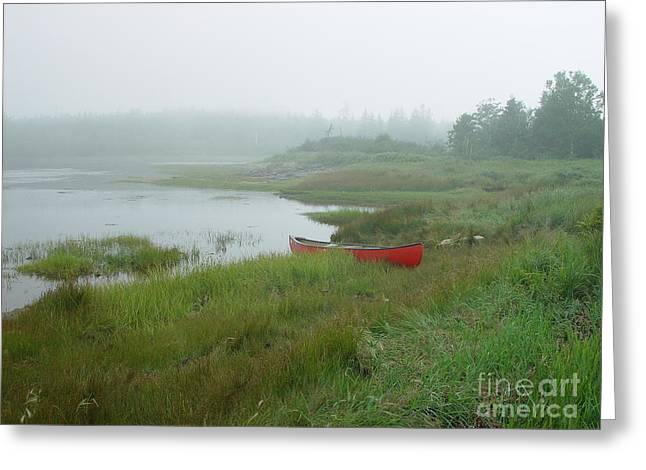 Canoe At Point Of Maine Greeting Card by Christopher Mace