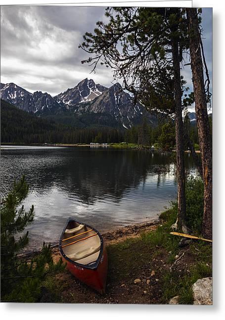 Canoe At Stanley Lake Greeting Card by Vishwanath Bhat