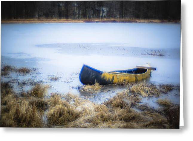 Canoe At The Frozen Lake Greeting Card