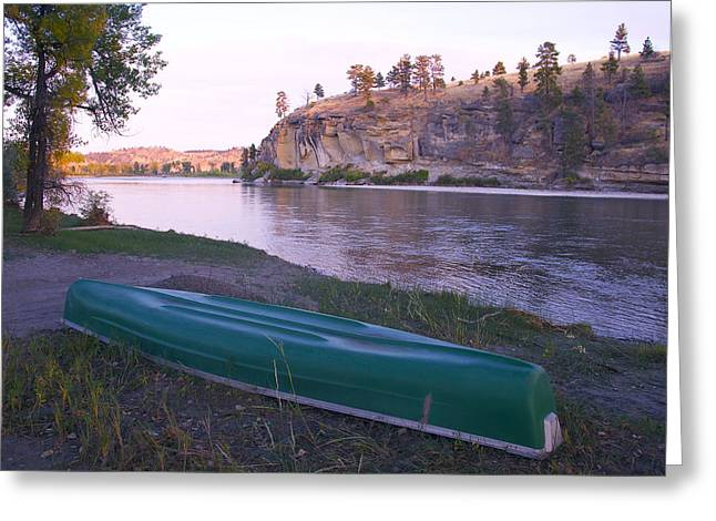 Canoe By River Greeting Card