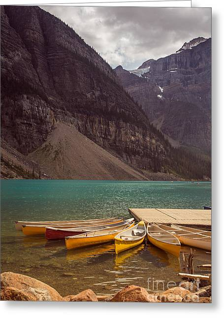 Canoe For Rent In Banff's Moraine Lake Greeting Card