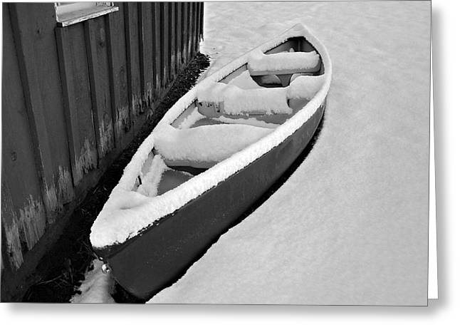 Canoe In The Snow Greeting Card