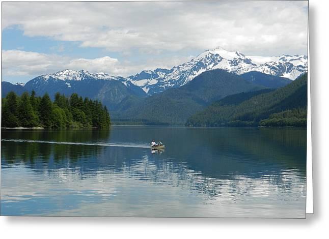 Greeting Card featuring the photograph Canoe On Baker Lake by Karen Molenaar Terrell