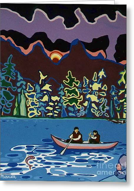 Greeting Card featuring the painting Canoe On Lightning Lake by Joyce Gebauer