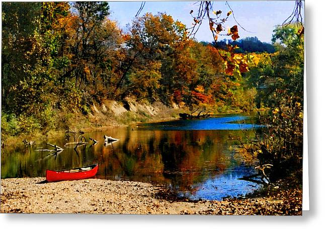 Greeting Card featuring the photograph Canoe On The Gasconade River by Steve Karol