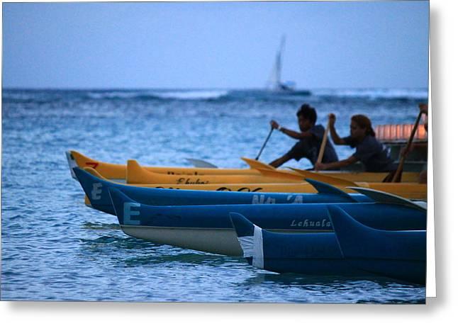 Canoe Paddling Greeting Card by Saya Studios