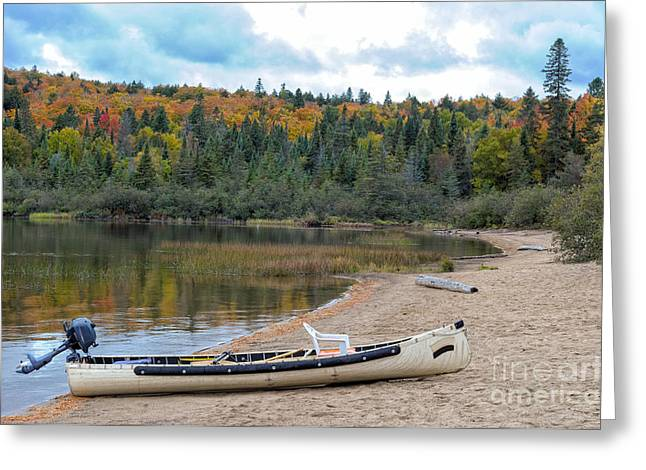 Canoe With An Engine Greeting Card by Les Palenik