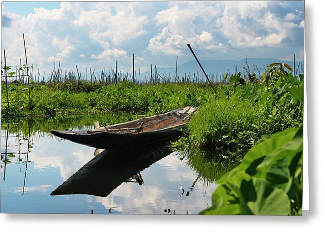 Canoe Withe Floating Farm On Inle Lake Greeting Card