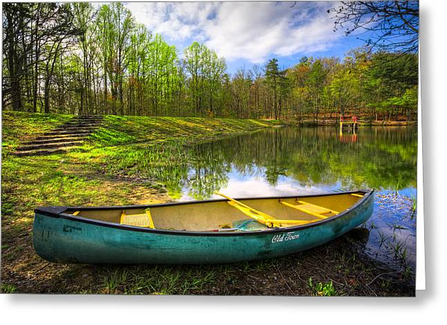 Canoeing At The Lake Greeting Card by Debra and Dave Vanderlaan