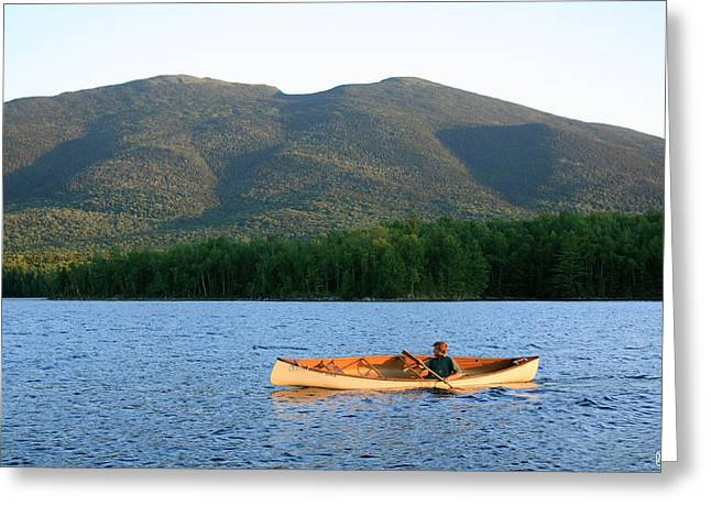 Canoeing Flagstaff Lake Greeting Card