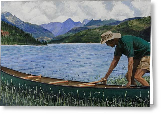 Canoeing Vallecito Greeting Card by Timithy L Gordon