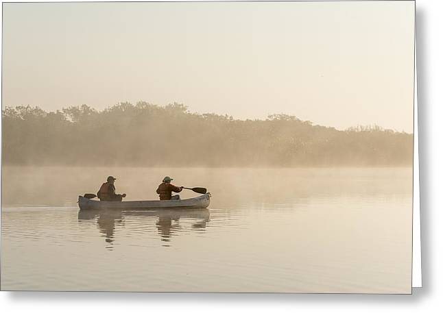 Canoeists At Dawn Everglades Np Florida Greeting Card