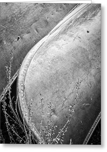 Canoes And Lavender Bw Greeting Card