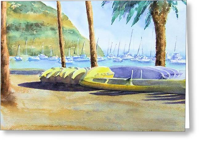 Canoes And Surfboards In The Morning Light - Catalina Greeting Card
