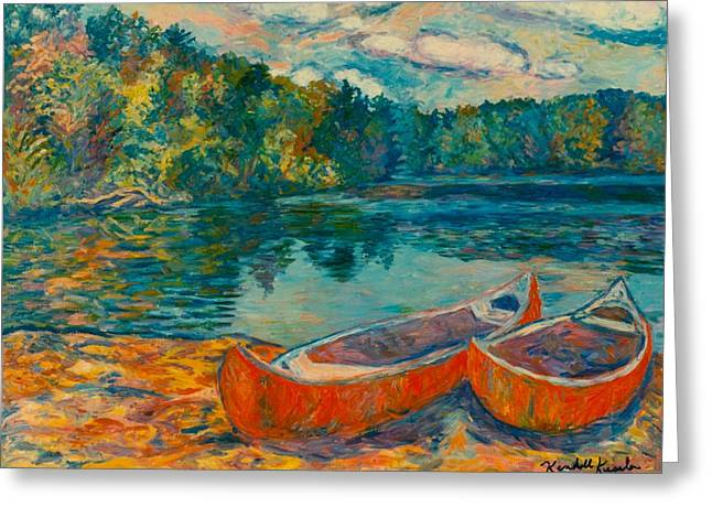 Canoes At Mountain Lake Greeting Card