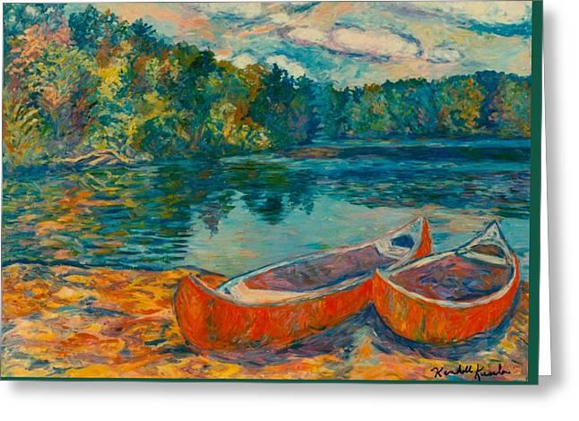 Canoes At Mountain Lake Greeting Card