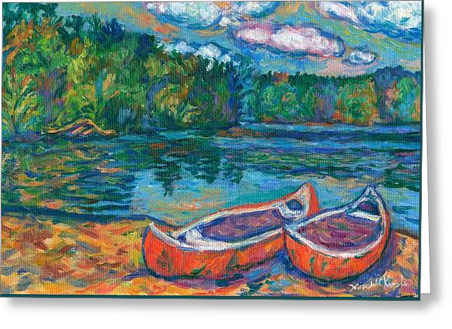 Canoes At Mountain Lake Sketch Greeting Card